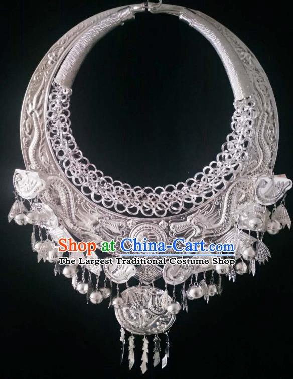 Chinese Handmade Traditional Miao Nationality Sliver Carving Necklace Ethnic Wedding Bride Accessories for Women