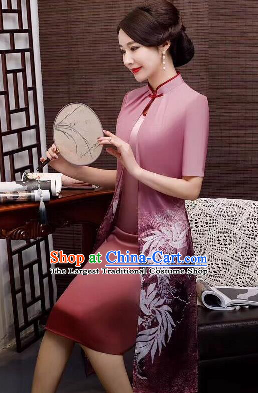 Chinese Traditional Qipao Dress Bride Mother Deep Pink Cheongsam National Costumes for Women