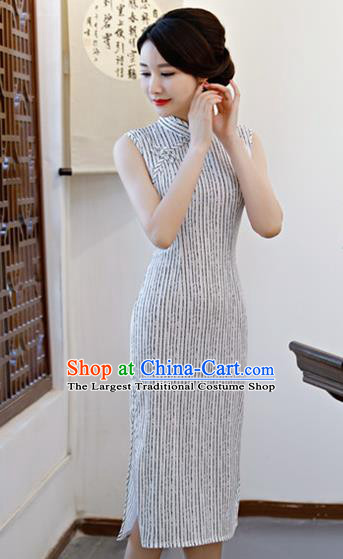 Chinese Traditional Qipao Dress White Cotton Cheongsam National Costume for Women
