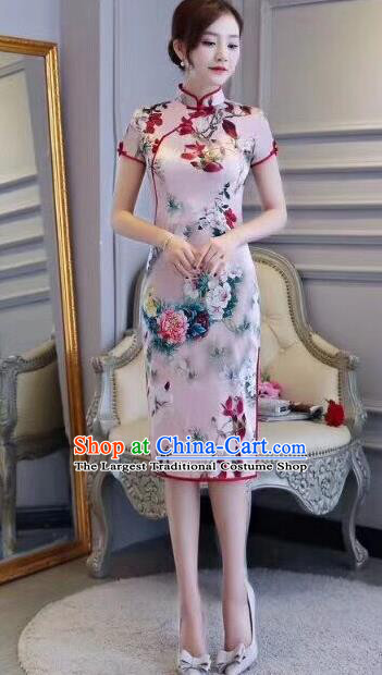 Chinese Traditional Short Qipao Dress Printing Pink Cheongsam National Costume for Women