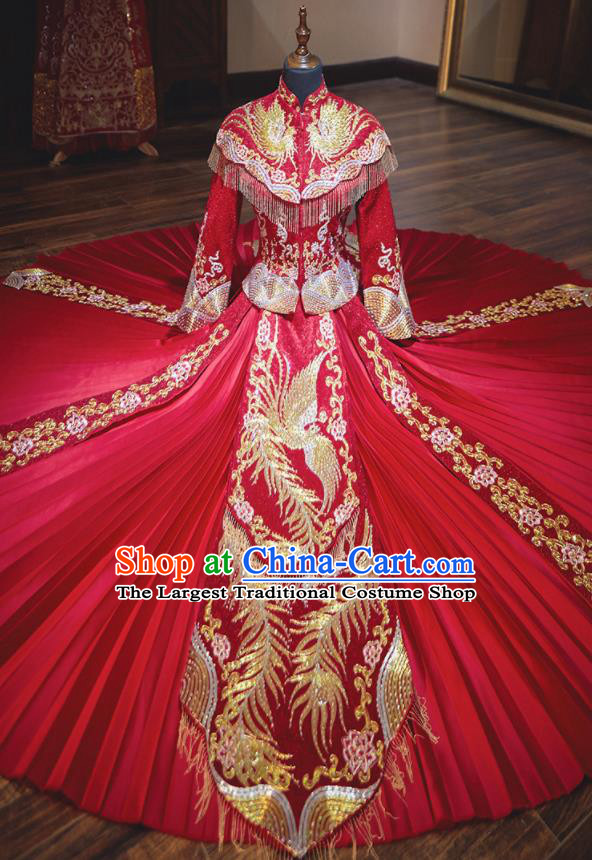 Chinese Traditional Wedding Costumes Ancient Bride Embroidered Red Xiuhe Suit Dress for Women