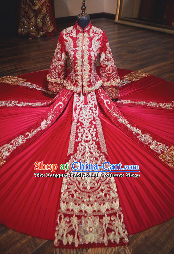 Chinese Traditional Wedding Costumes Red Xiuhe Suit Ancient Bride Embroidered Dress for Women