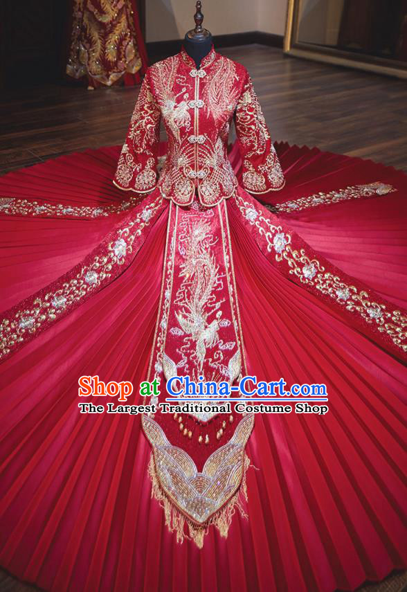 Chinese Traditional Wedding Costumes Toast Red Xiuhe Suit Ancient Bride Full Dress for Women