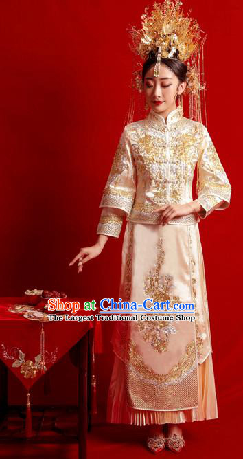 Chinese Traditional Wedding Costumes Toast Golden Xiuhe Suit Ancient Bride Full Dress for Women