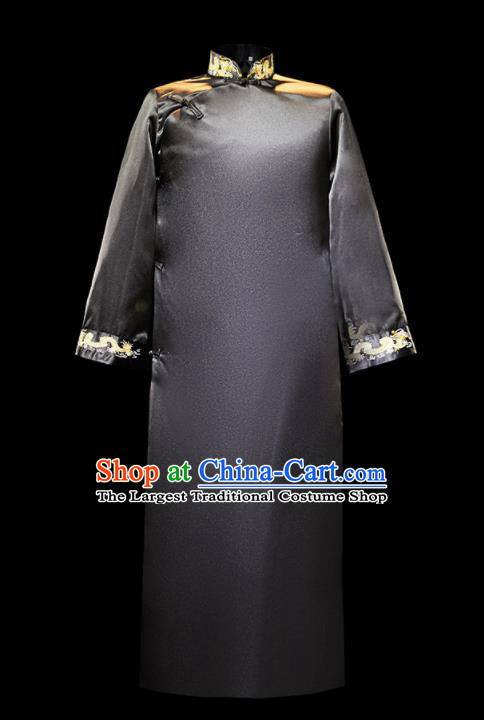 Chinese Traditional Wedding Groomsman Costumes Tang Suit Black Long Gown for Men