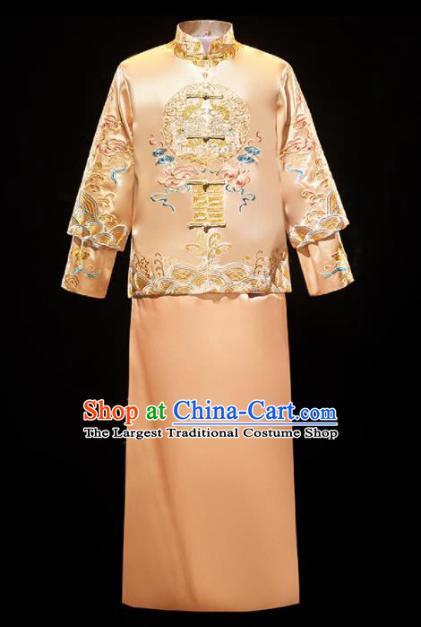 Chinese Traditional Bridegroom Wedding Costumes Tang Suit Embroidered Dragon Golden Mandarin Jacket and Long Gown for Men