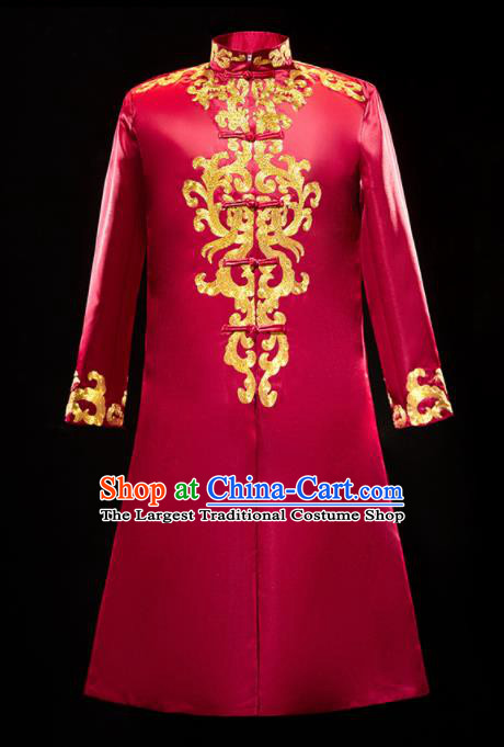 Chinese Traditional Bridegroom Wedding Xiuhe Costumes Tang Suit Embroidered Red Long Mandarin for Men