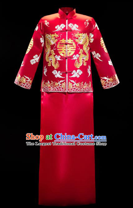 Chinese Traditional Bridegroom Wedding Embroidered Costumes Tang Suit Xiuhe Suits Red Mandarin Jacket and Long Gown for Men