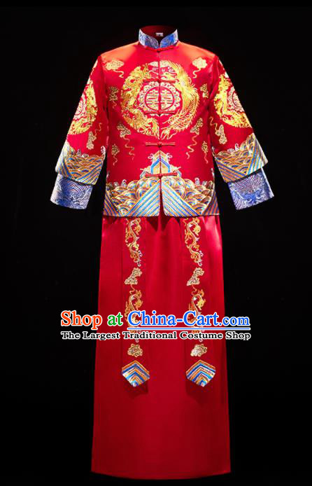Chinese Traditional Bridegroom Wedding Costumes Tang Suit Xiuhe Suits Red Mandarin Jacket and Long Gown for Men
