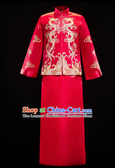 Chinese Traditional Bridegroom Wedding Embroidered Dragon Costumes Tang Suit Xiuhe Suits Red Mandarin Jacket and Long Gown for Men
