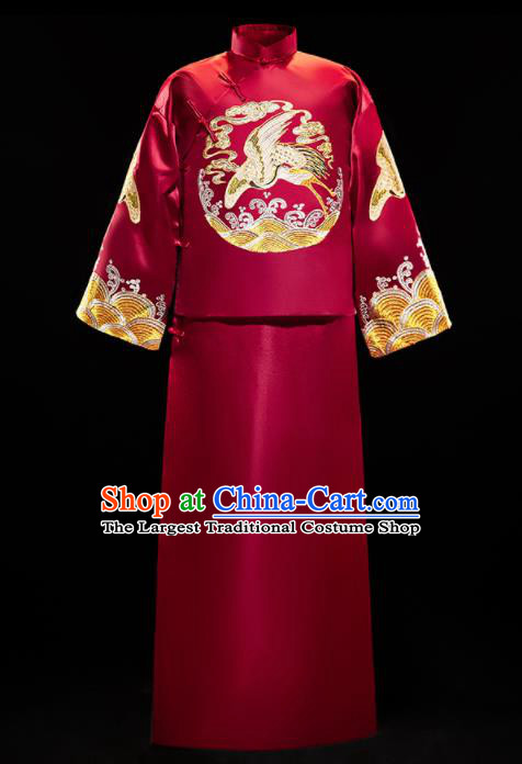 Chinese Traditional Bridegroom Wedding Embroidered Crane Costumes Tang Suit Xiuhe Suits Wine Red Mandarin Jacket and Long Gown for Men