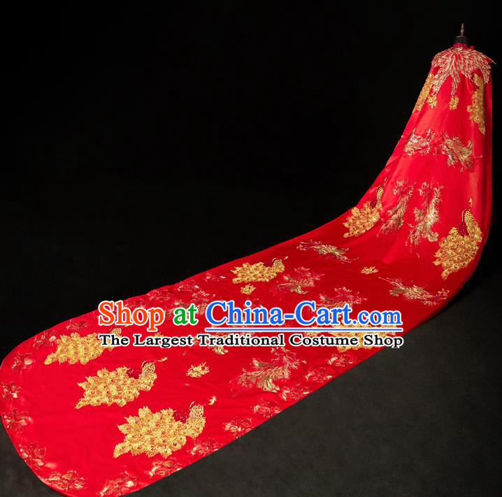 Chinese Traditional Wedding Long Cloak Toast Xiuhe Suit Ancient Bride Full Dress for Women