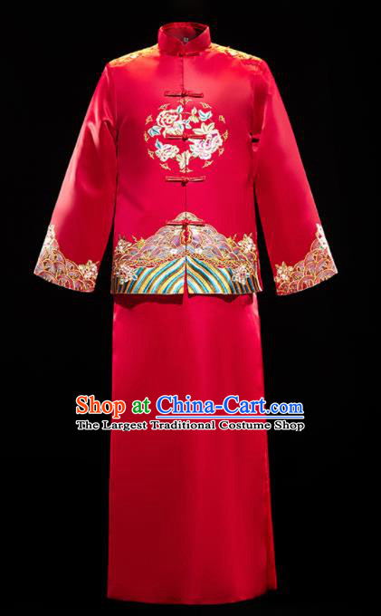 Chinese Traditional Bridegroom Wedding Embroidered Xiuhe Suits Costumes Tang Suit Wine Red Mandarin Jacket and Long Gown for Men