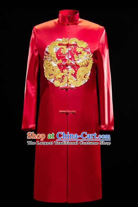 Chinese Traditional Bridegroom Wedding Embroidered Dragon Costumes Tang Suit Red Mandarin Jacket for Men