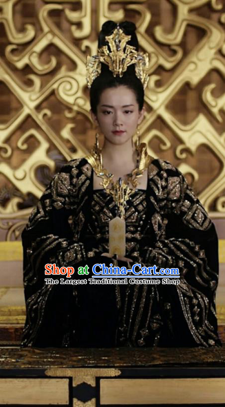 Drama Novoland Eagle Flag Chinese Ancient Royal Princess Xiao Zhou Replica Costumes and Headpiece for Women