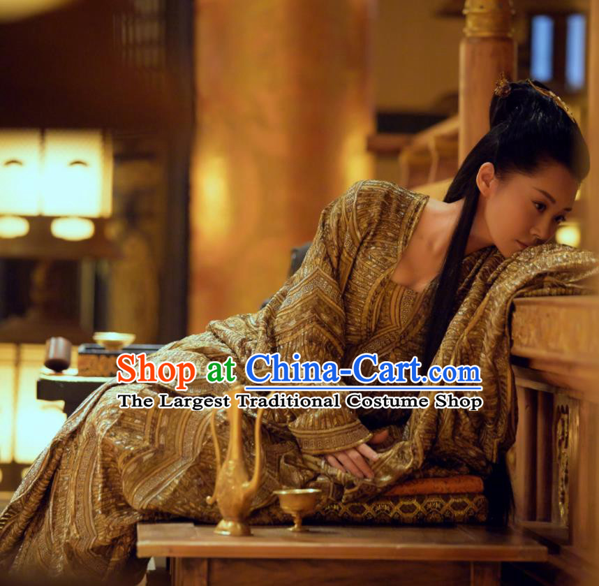 Chinese Ancient Grand Princess Bai Lingbo Dress Drama Novoland Eagle Flag Xu Qing Replica Costumes for Women
