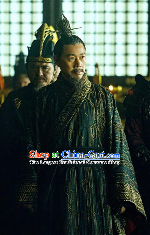 Chinese Ancient Emperor Ying Wuyi Clothing Drama Novoland Eagle Flag King Zhang Fengyi Replica Costumes for Men