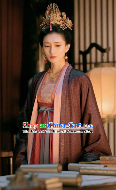 Chinese Ancient Royal Princess Gong Yuyi Dress Drama Novoland Eagle Flag Jiang Shuying Replica Costumes and Headpiece for Women