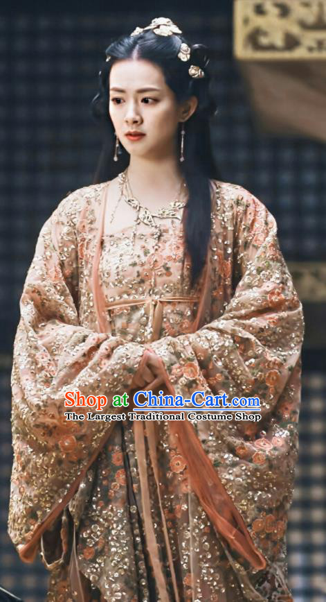 Chinese Ancient Palace Princess Xiao Zhou Dress Drama Novoland Eagle Flag Replica Costumes and Headpiece for Women