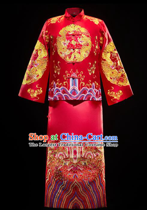 Chinese Traditional Embroidered Dragon Wedding Red Mandarin Jacket and Gown Ancient Bridegroom Tang Suit Costumes for Men