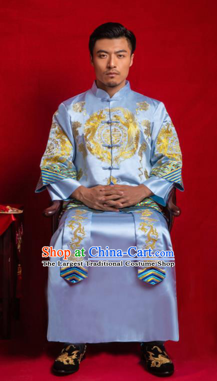 Chinese Traditional Embroidered Wedding Blue Mandarin Jacket and Gown Ancient Bridegroom Tang Suit Costumes for Men
