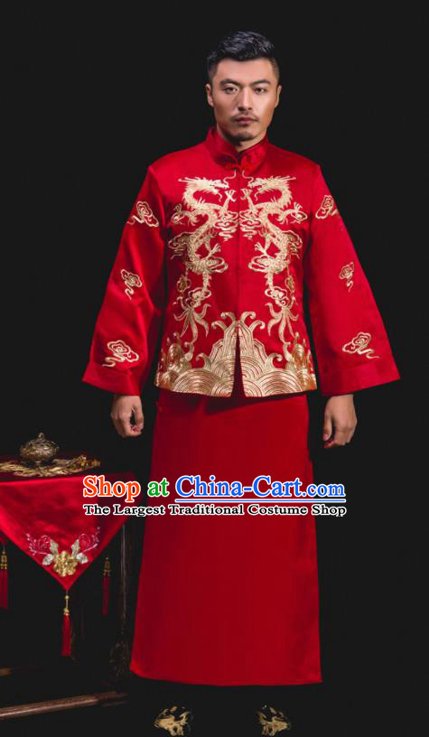 Chinese Traditional Wedding Embroidered Red Mandarin Jacket and Gown Ancient Bridegroom Tang Suit Costumes for Men