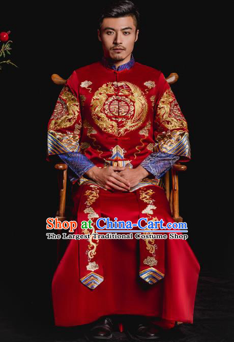 Chinese Traditional Wedding Embroidered Dragons Phoenix Red Mandarin Jacket and Gown Ancient Bridegroom Tang Suit Costumes for Men