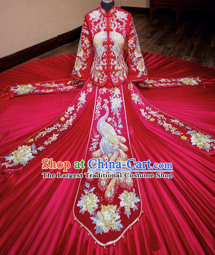 Chinese Traditional Wedding Toast Xiuhe Suit Ancient Bride Embroidered Peacock Full Dress for Women