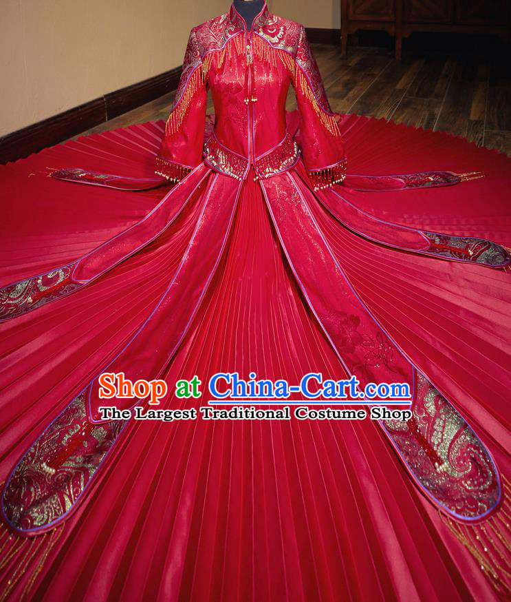 Chinese Traditional Wedding Toast Xiuhe Suit Ancient Bride Embroidered Red Full Dress for Women