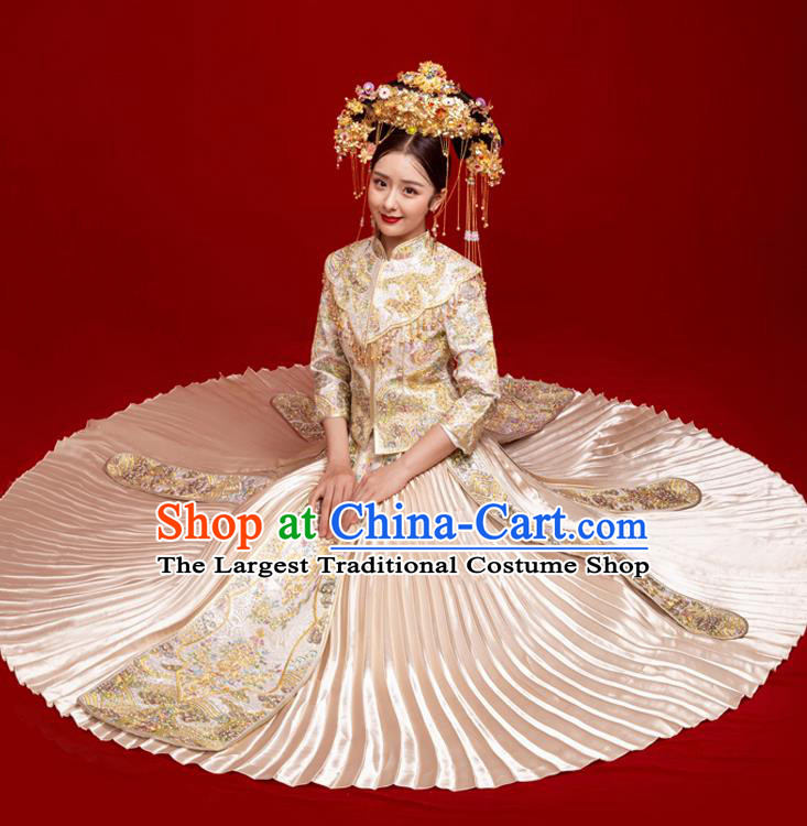 Chinese Traditional Wedding Toast White Xiuhe Suit Ancient Bride Embroidered Full Dress for Women