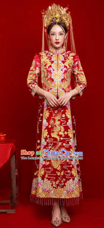 Chinese Traditional Wedding Toast Dragon Phoenix Xiuhe Suit Ancient Bride Embroidered Full Dress for Women