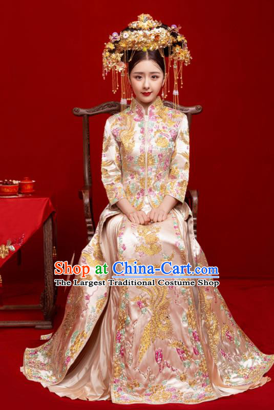 Chinese Traditional Wedding Toast Champagne Xiuhe Suit Ancient Bride Embroidered Full Dress for Women