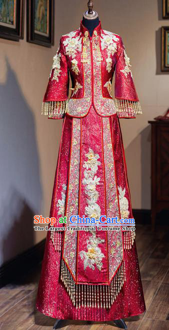 Chinese Traditional Wedding Toast Red Xiuhe Suit Ancient Bride Embroidered Full Dress for Women