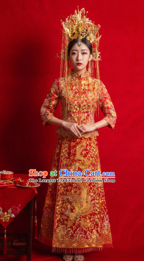 Chinese Traditional Wedding Costumes Toast Phoenix Xiuhe Suit Ancient Bride Embroidered Full Dress for Women