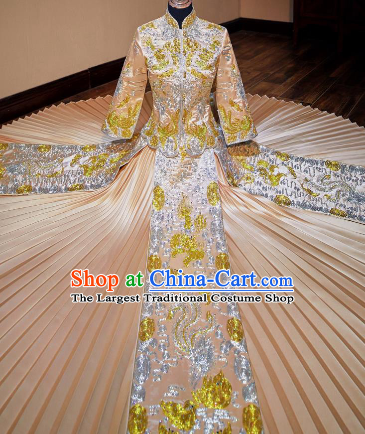 Chinese Traditional Wedding Costumes Toast Champagne Xiuhe Suit Ancient Bride Embroidered Full Dress for Women
