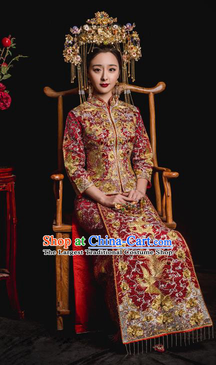 Chinese Traditional Wedding Costumes Embroidered Phoenix Toast Xiuhe Suit Ancient Bride Full Dress for Women