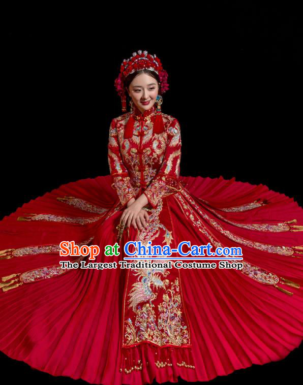 Chinese Traditional Wedding Toast Costumes Embroidered Xiuhe Suit Ancient Bride Full Dress for Women