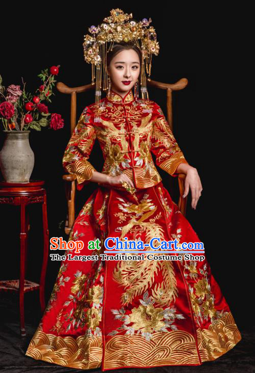 Chinese Traditional Wedding Toast Costumes Embroidered Phoenix Red Xiuhe Suit Ancient Bride Full Dress for Women