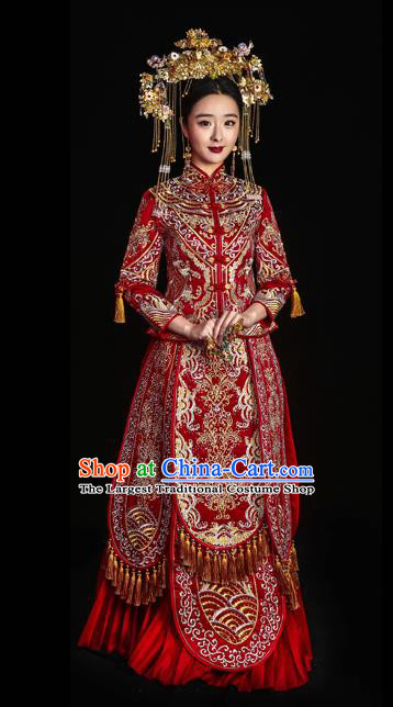 Chinese Traditional Wedding Toast Longfeng Flown Costumes Embroidered Red Xiuhe Suit Ancient Bride Full Dress for Women