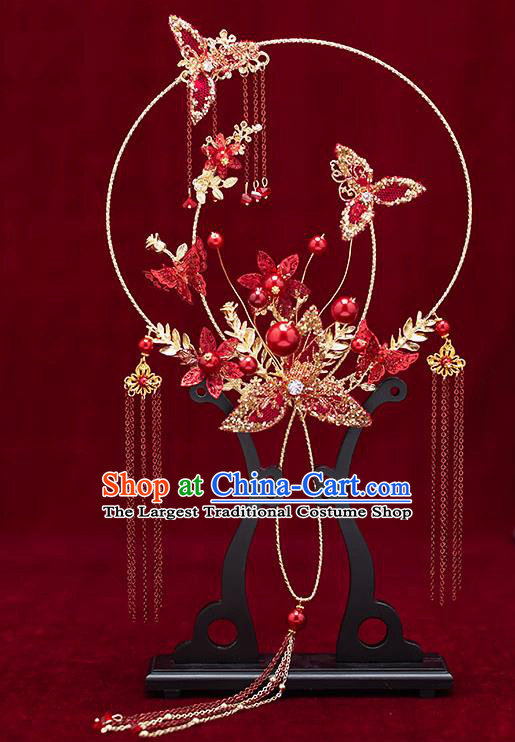 Chinese Traditional Wedding Palace Fans Ancient Bride Prop Red Round Fan for Women