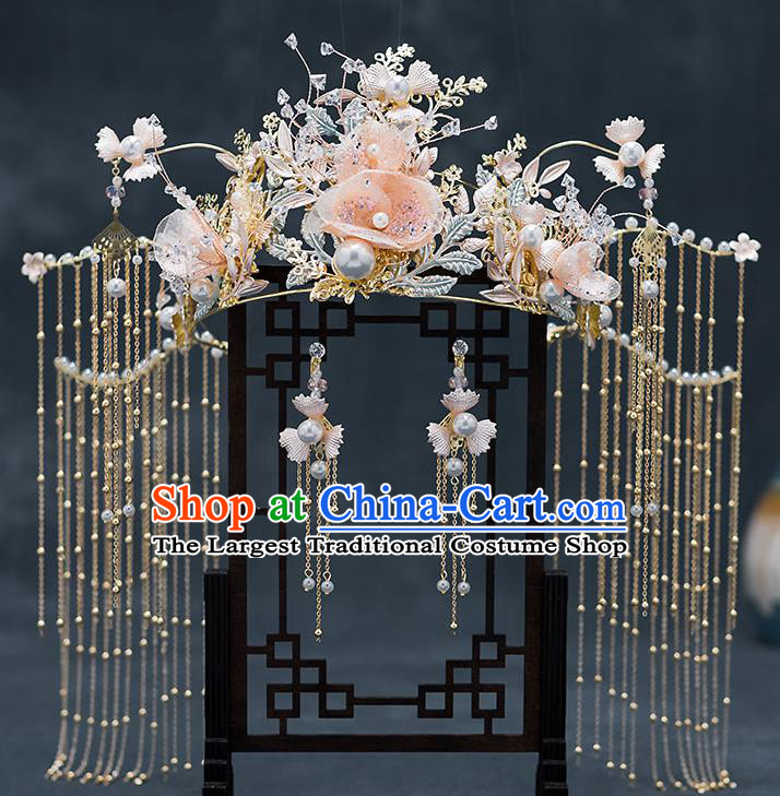 Chinese Traditional Bride Pink Flowers Hair Crown Handmade Hairpins Wedding Hair Accessories Complete Set for Women