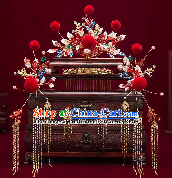 Chinese Traditional Bride Hair Combs Handmade Hairpins Wedding Hair Accessories Complete Set for Women