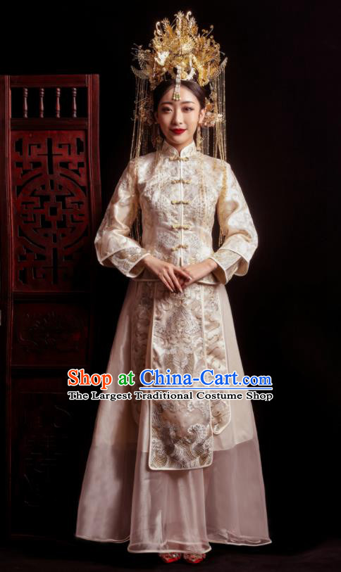 Chinese Traditional Wedding White Costumes Toast Xiuhe Suit Ancient Bride Embroidered Full Dress for Women