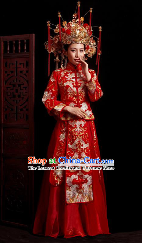 Chinese Traditional Wedding Red Costumes Embroidered Toast Xiuhe Suit Ancient Bride Full Dress for Women