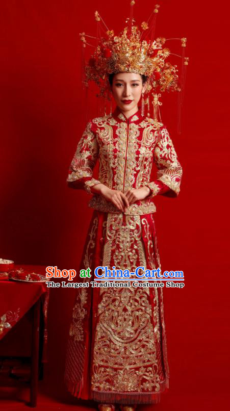 Chinese Traditional Wedding Costumes Embroidered Red Toast Xiuhe Suit Ancient Bride Full Dress for Women