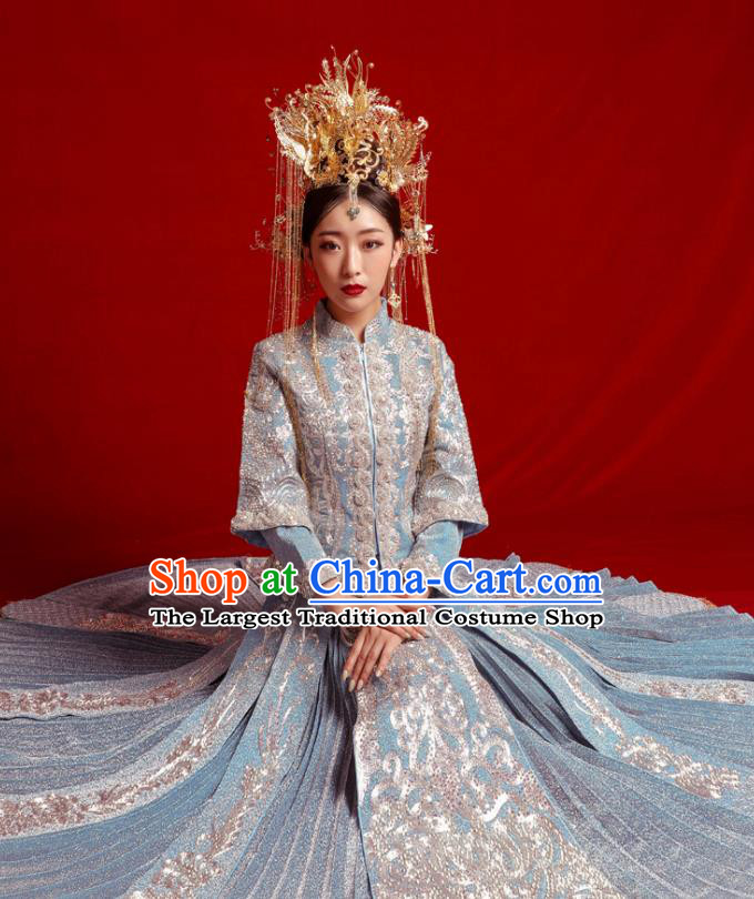 Chinese Traditional Wedding Costumes Embroidered Blue Toast Xiuhe Suit Ancient Bride Full Dress for Women