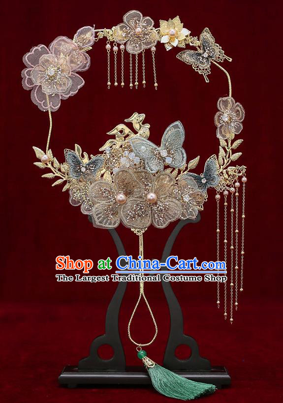 Chinese Traditional Wedding Flowers Butterfly Palace Fans Ancient Bride Prop Fan for Women