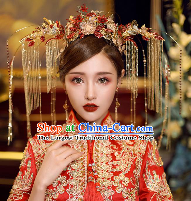 Chinese Traditional Wedding Luxury Phoenix Coronet Bride Handmade Tassel Hairpins Hair Accessories Complete Set for Women