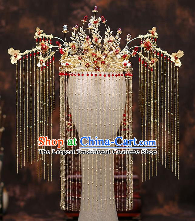 Chinese Traditional Golden Tassel Phoenix Coronet Bride Handmade Hairpins Wedding Hair Accessories Complete Set for Women