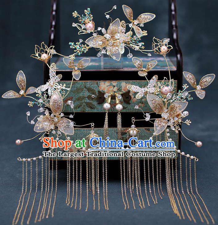 Chinese Traditional Wedding Hair Comb Bride Handmade Tassel Hairpins Hair Accessories Complete Set for Women